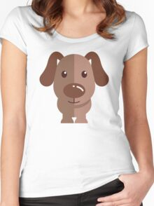 Adorable funny cartoon dog Women's Fitted Scoop T-Shirt