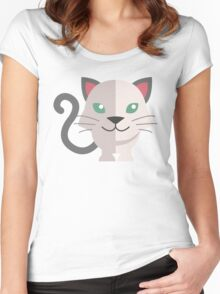 Adorable cartoon cat Women's Fitted Scoop T-Shirt