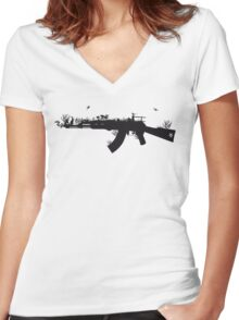 Ak47 Love & Peace Women's Fitted V-Neck T-Shirt