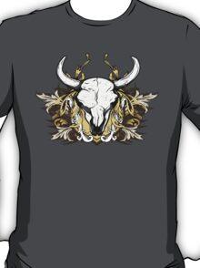 Bull Skull with Engraved Floral Detail - V1 T-Shirt