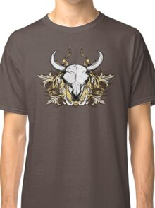 Bull Skull with Engraved Floral Detail - V1 Classic T-Shirt