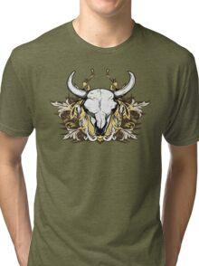 Bull Skull with Engraved Floral Detail - V1 Tri-blend T-Shirt