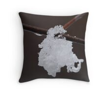 Snow on a branch Throw Pillow