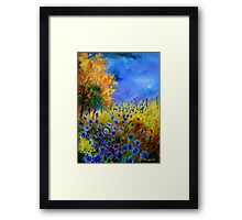 Blue cornflowers and orangetree Framed Print