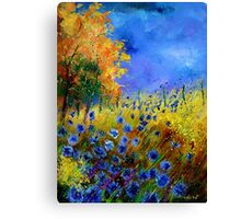 Blue cornflowers and orangetree Canvas Print