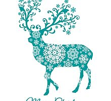 Merry Christmas, teal Christmas deer with snowflakes  by beakraus