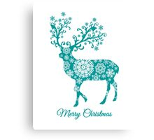 Merry Christmas, teal Christmas deer with snowflakes  Canvas Print