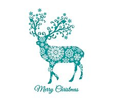 Merry Christmas, teal Christmas deer with snowflakes  Photographic Print