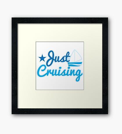 Just cruising with sail boat Framed Print