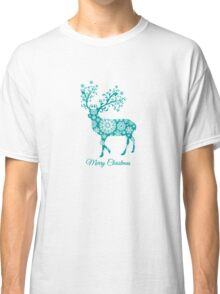 Merry Christmas, teal Christmas deer with snowflakes  Classic T-Shirt