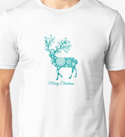 Merry Christmas, teal Christmas deer with snowflakes  Unisex T-Shirt
