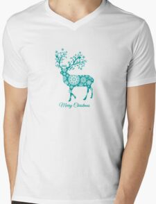 Merry Christmas, teal Christmas deer with snowflakes  Mens V-Neck T-Shirt