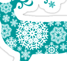 Merry Christmas, teal Christmas deer with snowflakes  Sticker