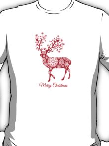 Christmas deer with snowflakes pattern T-Shirt