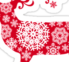 Christmas deer with snowflakes pattern Sticker