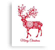 Christmas deer with snowflakes pattern Canvas Print