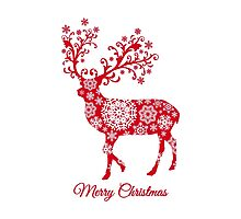 Christmas deer with snowflakes pattern Photographic Print