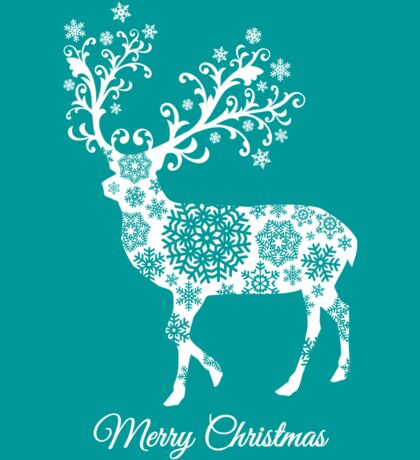 Merry Christmas, teal Christmas card with deer  Sticker