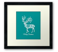 Merry Christmas, teal Christmas card with deer  Framed Print