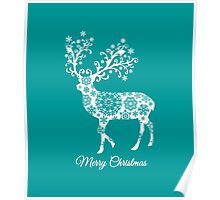 Merry Christmas, teal Christmas card with deer  Poster