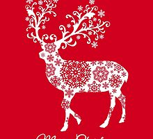 Merry Christmas, red Christmas card with deer by beakraus