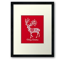 Merry Christmas, red Christmas card with deer Framed Print