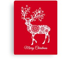 Merry Christmas, red Christmas card with deer Canvas Print