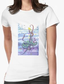 Bath Time Octopus Womens Fitted T-Shirt