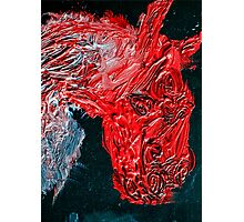 Oil on canvas Horse in red Photographic Print