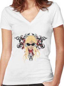 blond face Women's Fitted V-Neck T-Shirt