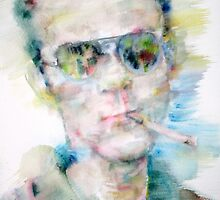 HUNTER S. THOMPSON - watercolor portrait by lautir