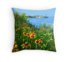 Wild flowers on seashore Throw Pillow