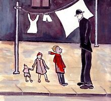 4 People and a washing line (from my original acrylic painting) by sword