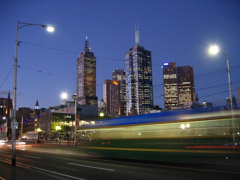 Melbourne Skyline at Night by Beamer