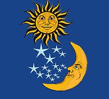 Sun Moon & Stars, on Midnight Blue, have it all by TOM HILL - Designer