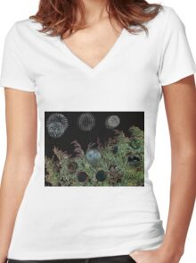 Merry Christmas with firework  Women's Fitted V-Neck T-Shirt