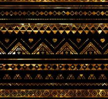 Aztec Black Tinsel Gold Sticker