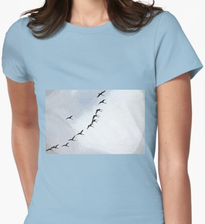 Twelve Swans A Flying Womens Fitted T-Shirt