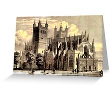 A North West View of Exeter Cathedral, England Greeting Card