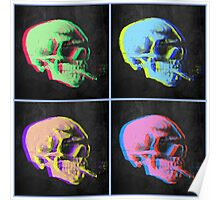 Van Gogh Skull with burning cigarette remixed set of 4 Poster