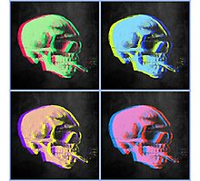 Van Gogh Skull with burning cigarette remixed set of 4 Photographic Print