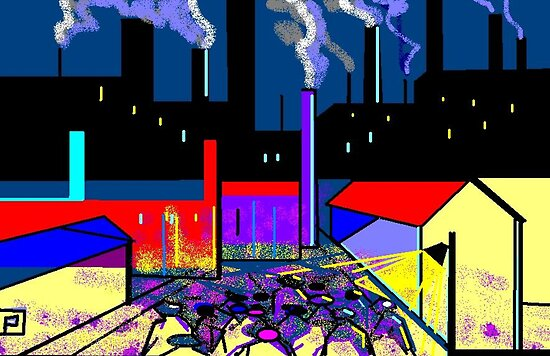 Dark satanic mills (from my computer digital abstract painting) by sword