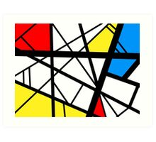 Impact abstract black white red blue yellow art Art Print