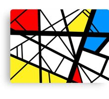 Impact abstract black white red blue yellow art Canvas Print