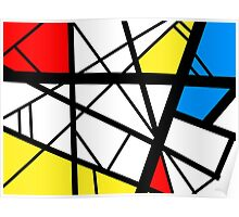 Impact abstract black white red blue yellow art Poster