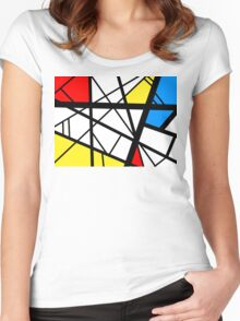 Impact abstract black white red blue yellow art Women's Fitted Scoop T-Shirt