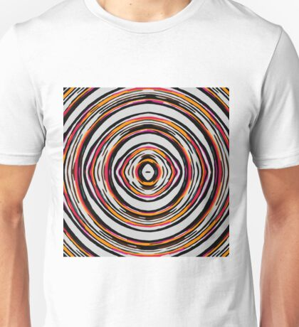 psychedelic geometric graffiti circle pattern abstract in red orange pink black Unisex T-Shirt
