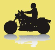 Cruiser Motorcycle Silhouette with Rider & Shadow Baby Tee