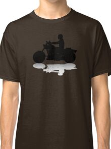 Cruiser Motorcycle Silhouette with Rider & Shadow Classic T-Shirt