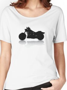 Cruiser Motorcycle Silhouette with Shadow Women's Relaxed Fit T-Shirt